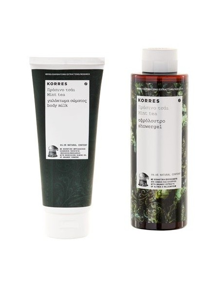 Korres Made with Love Leche Corporal Te de Menta 200 mL + Gel de Ducha  Te de Menta 250 mL + Mini talla Champu Te de Menta 40 mL