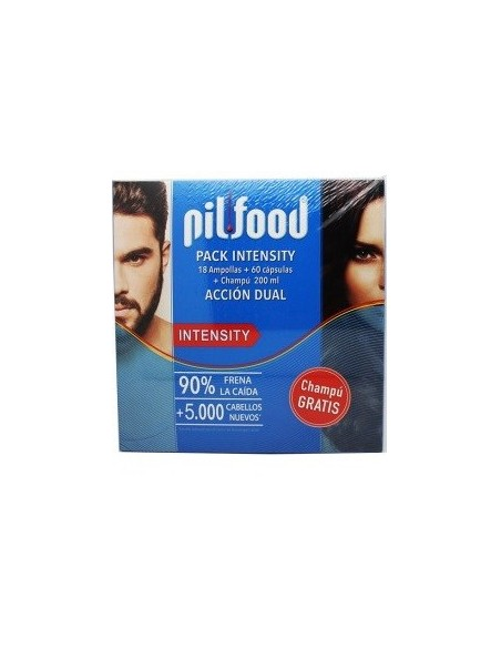 Pilfood Pack Intensity 18 Ampollas + 60 Capsulas + Champu 200 mL