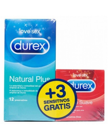 Durex Natural Plus 12 Unidades + REGALO* Durex Sensitivo Suave 3 Unidades