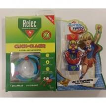 Relec Pulsera Antimosquitos Click Clack Reloj Supergirl