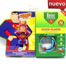 Relec Pulsera Antimosquitos Click Clack Reloj Superman