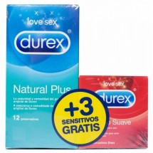 Durex Natural Plus 12 Unidades + REGALO* Durex Sensitivo Suave 3 Unidades